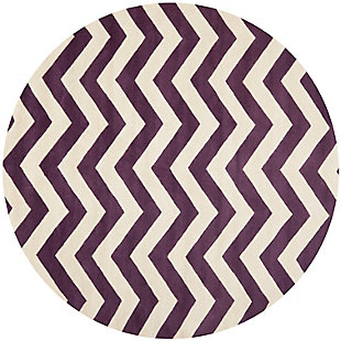 Round 5' x 5' Wool Pile Rug, Purple, large