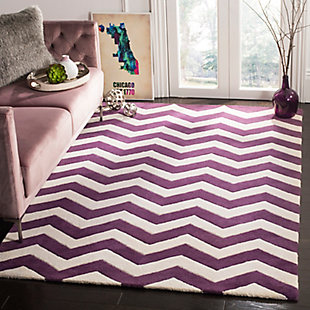 Rectangular 6' x 9' Wool Pile Rug, Purple, rollover