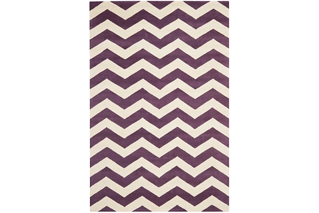 Rectangular 6' x 9' Wool Pile Rug, Purple, large