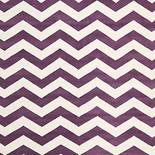 Rectangular 8' x 10' Wool Pile Rug, Purple, large