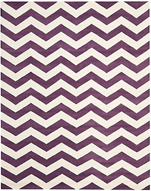 Rectangular 8' x 10' Wool Pile Rug, Purple, large