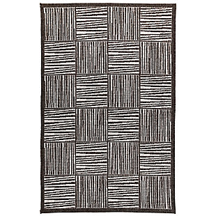"Caston Outline 3'4"" x 4'10"" Indoor/Outdoor Rug, Gray, large"
