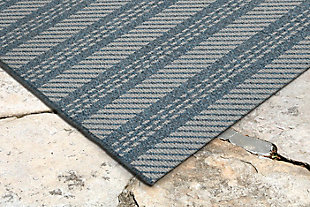 "Caston Multi Bands 4'10"" x 7'6"" Indoor/Outdoor Rug, Blue, rollover"