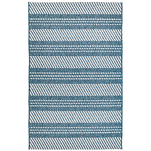 "Caston Multi Bands 4'10"" x 7'6"" Indoor/Outdoor Rug, Blue, large"