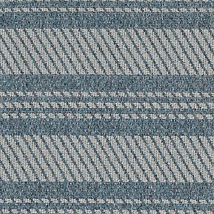 "Caston Multi Bands 7'10"" x 9'10"" Indoor/Outdoor Rug, Blue, large"