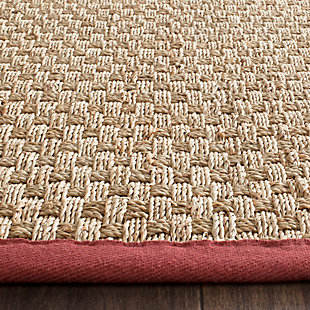 Safavieh Natural Fiber 2'-6 x 14' Runner, Natural/Red, large