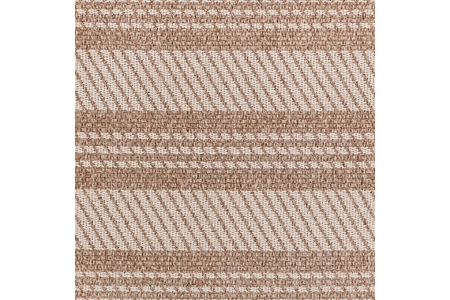 "Caston Multi Bands 7'10"" x 9'10"" Indoor/Outdoor Rug, Beige, large"
