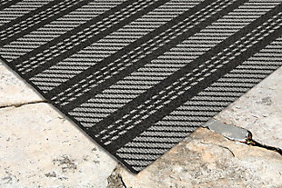 "Caston Multi Bands 7'10"" x 9'10"" Indoor/Outdoor Rug, Gray, large"