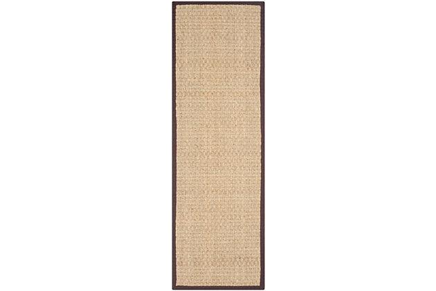 Safavieh Natural Fiber 2'-6 x 10' Runner, Natural/Dark Brown, large