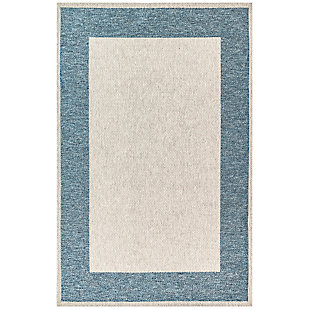 "Caston Wide Brim 4'10"" x 7'6"" Indoor/Outdoor Rug, Blue, large"