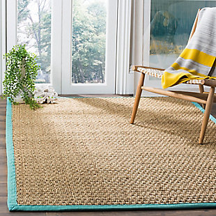 Safavieh Natural Fiber 5' x 8' Area Rug, Natural/Teal, rollover