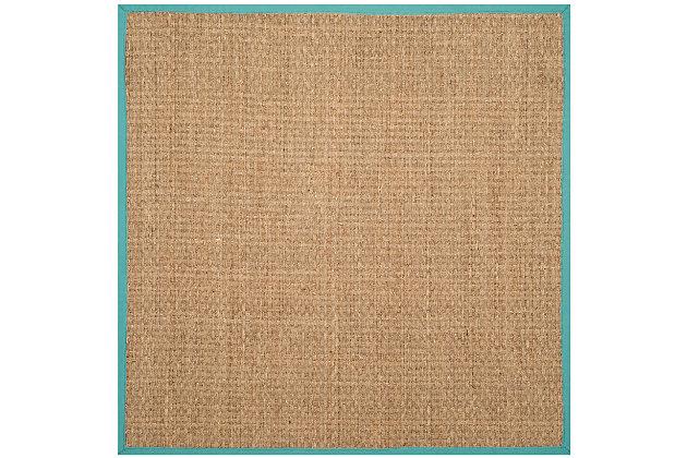 Safavieh Natural Fiber 6' x 6' Square Area Rug, Natural/Teal, large