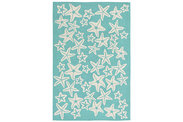 "Fortina Basket Star 3'6"" x 5'6"" Indoor/Outdoor Rug, Blue, large"