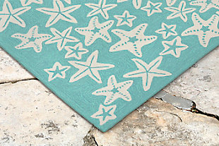 "Fortina Basket Star 5' x 7'6"" Indoor/Outdoor Rug, Blue, rollover"