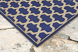 "Trapani Diamonds 5' x 7'6"" Indoor/Outdoor Rug, Blue, rollover"