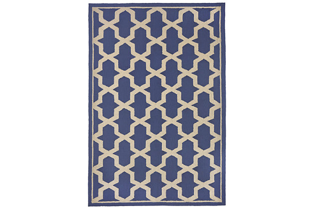 "Trapani Diamonds 5' x 7'6"" Indoor/Outdoor Rug, Blue, large"