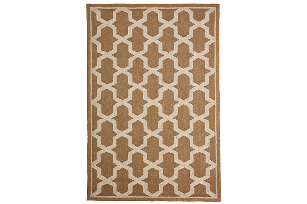 """Trapani Diamonds 5' x 7'6"""" Indoor/Outdoor Rug, Camel, large"""