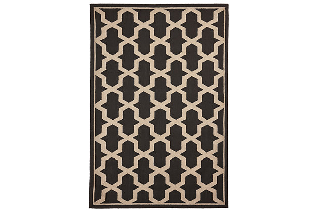 "Trapani Diamonds 5' x 7'6"" Indoor/Outdoor Rug, Gray, large"