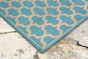 "Trapani Diamonds 3'6"" x 5'6"" Indoor/Outdoor Rug, Blue, rollover"