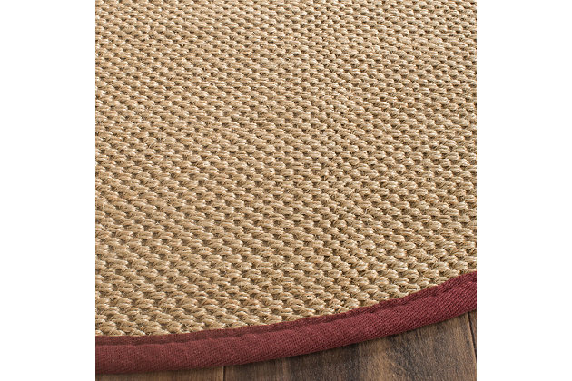 Safavieh Natural Fiber 6' x 6' Round Area Rug, Maize/Burgundy, large