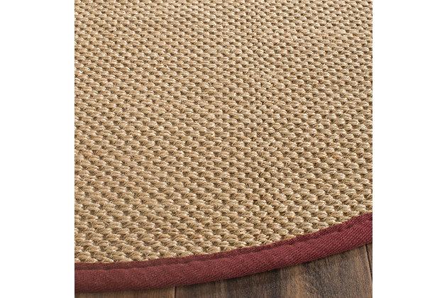 Safavieh Natural Fiber 6' x 6' Round Area Rug, Maize/Burgundy, large