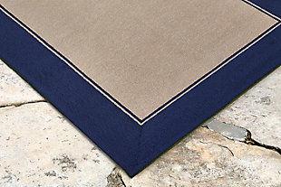 "Trapani Banded 5' x 7'6"" Indoor/Outdoor Rug, Blue, rollover"