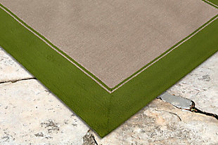 "Trapani Banded 7'6"" x 9'6"" Indoor/Outdoor Rug, Green, rollover"