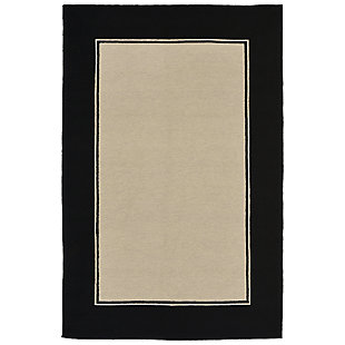 "Trapani Banded 7'6"" x 9'6"" Indoor/Outdoor Rug, Black, large"