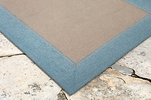 "Trapani Banded 3'6"" x 5'6"" Indoor/Outdoor Rug, Blue, rollover"