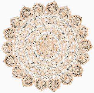Safavieh Natural Fiber 6' x 6' Round Area Rug, Ivory/Natural, rollover