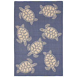 "Arbor Flatback 4'10"" x 7'6"" Indoor/Outdoor Rug, Navy, large"