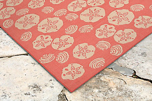 "Arbor Ocean 4'10"" x 7'6"" Indoor/Outdoor Rug, Orange, rollover"