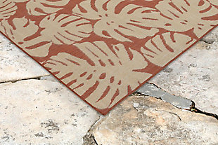 "Arobor Tropical 7'10"" x 9'10"" Indoor/Outdoor Rug, Rust, rollover"