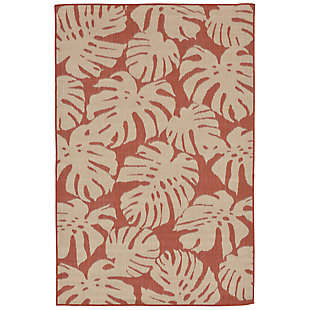 "Arobor Tropical 7'10"" x 9'10"" Indoor/Outdoor Rug, Rust, large"