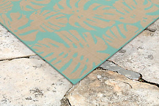 "Arobor Tropical 4'10"" x 7'6"" Indoor/Outdoor Rug, Blue, rollover"
