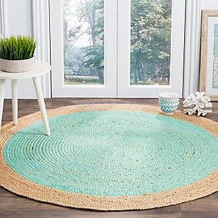 Safavieh Natural Fiber 6' x 6' Round Area Rug, Aqua/Natural, rollover