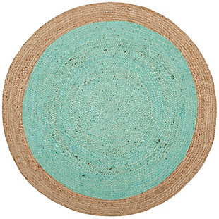 Safavieh Natural Fiber 6' x 6' Round Area Rug, Aqua/Natural, large
