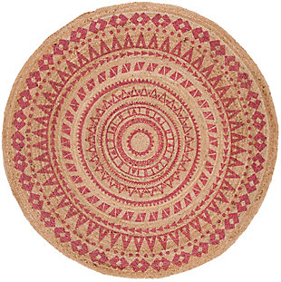 Safavieh Natural Fiber 6' x 6' Round Area Rug, Pink/Natural, large