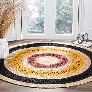Safavieh Natural Fiber 6' x 6' Round Area Rug, Black/Natural, rollover