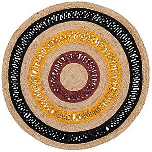 Safavieh Natural Fiber 6' x 6' Round Area Rug, Black/Natural, large