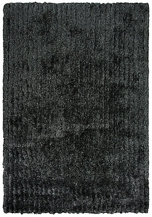 "Eclipse Eclipse Black 5'X7'6"" Tufted Rug, Black/Gray, large"