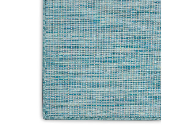 Nourison Positano 5' x 7' Aqua Brushstroke Indoor/Outdoor Rug, Aqua, large