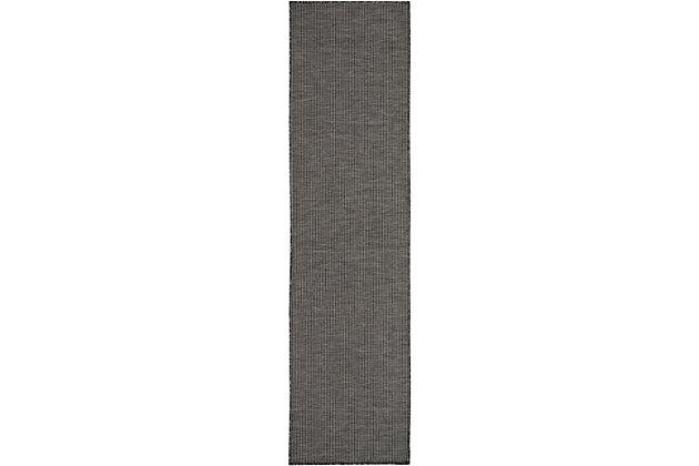 "Nourison Positano 2'2"" X 12' Charcoal Brushstroke Indoor/outdoor Rug, Charcoal, large"