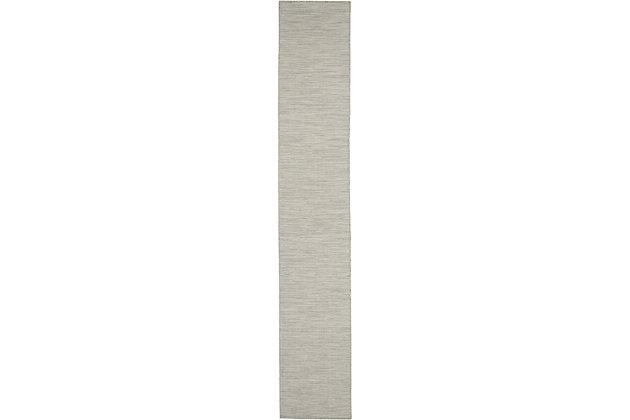 "Nourison Positano 2'2"" X 8' Light Gray Brushstroke Indoor/outdoor Rug, Light Gray, large"