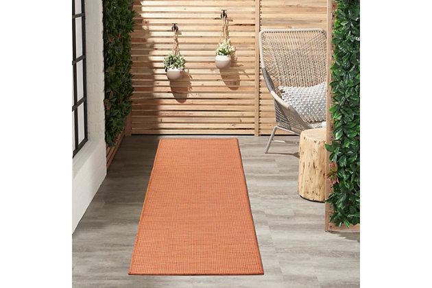 """Nourison Positano 2'2"""" X 12' Terracotta Brushstroke Indoor/outdoor Rug, Terracotta, large"""