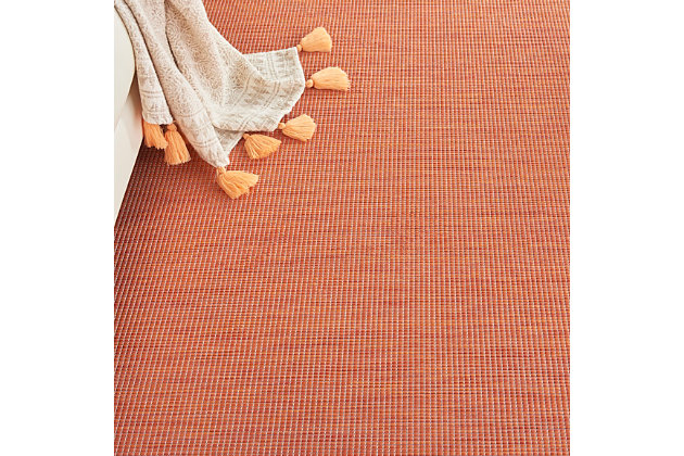 Nourison Positano 6' X 9' Terracotta Brushstroke Indoor/outdoor Rug, Terracotta, large