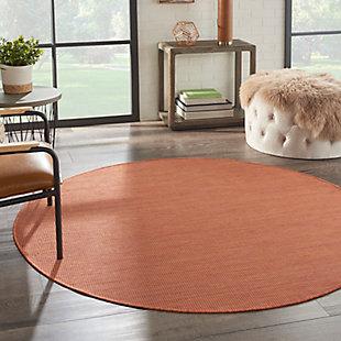 Nourison Positano 6' x Round Terracotta Brushstroke Indoor/Outdoor Rug, Terracotta, rollover