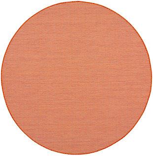 Nourison Positano 6' x Round Terracotta Brushstroke Indoor/Outdoor Rug, Terracotta, large