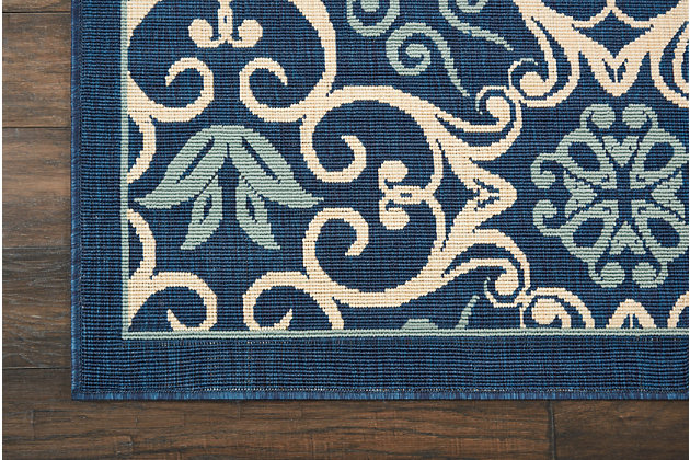 Nourison Caribbean 5' Round Navy Botanical Indoor/Outdoor Rug, Navy, large