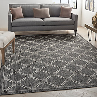 Nourison Country Side 6' x 9' Charcoal Trellis Indoor/Outdoor Rug, Charcoal, rollover
